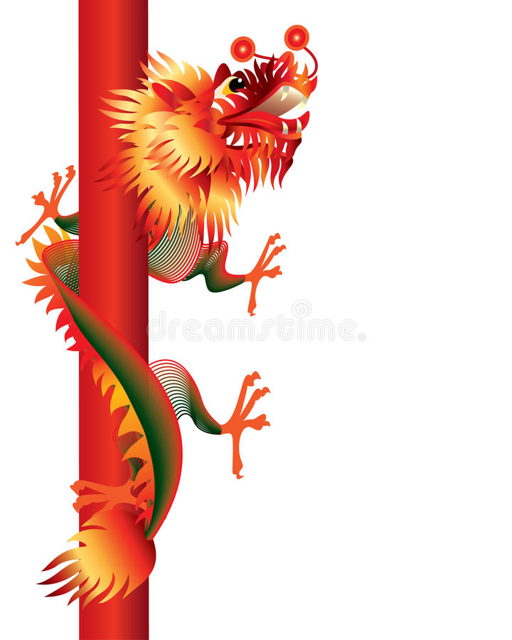 κινεζικό λευκό πόλων δράκ&om διανυσματική απεικόνιση