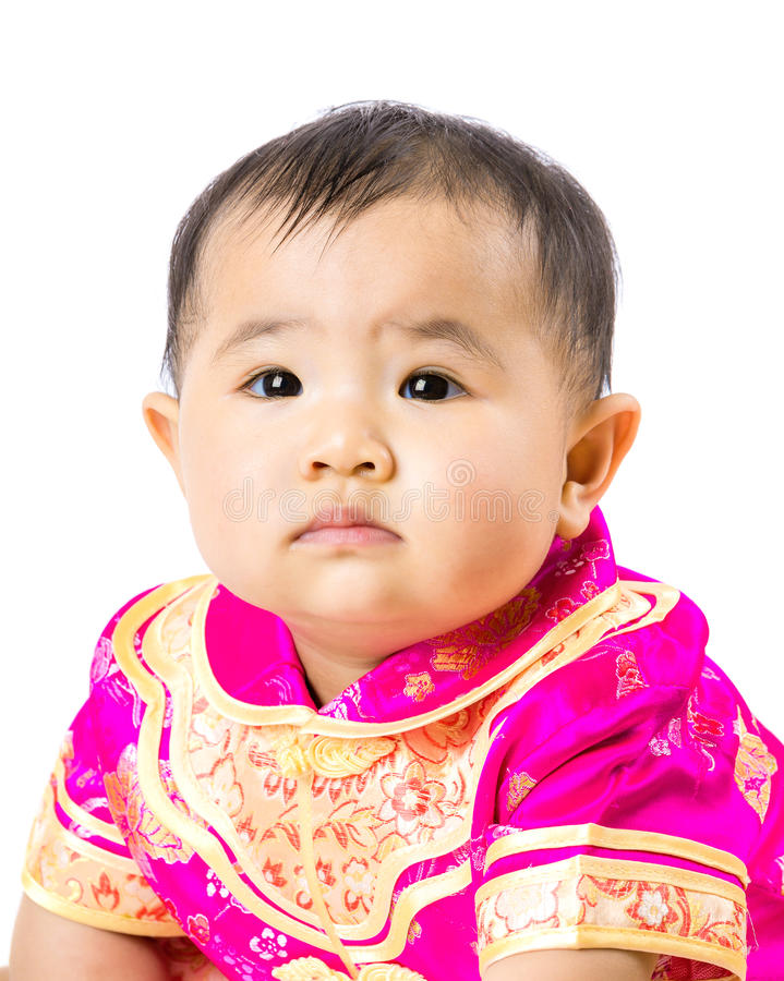 Κινεζικό μικρό κορίτσι με το παραδοσιακό κοστούμι στοκ φωτογραφίες με δικαίωμα ελεύθερης χρήσης