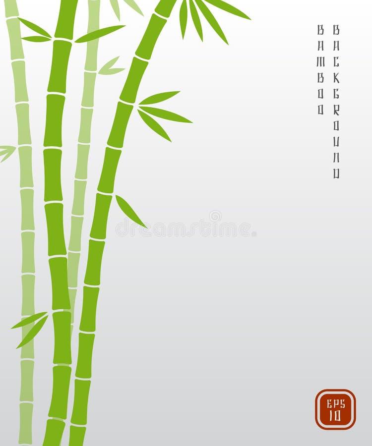 Κινεζικό μπαμπού ή ιαπωνικό ασιατικό διανυσματικό υπόβαθρο bambu απεικόνιση αποθεμάτων