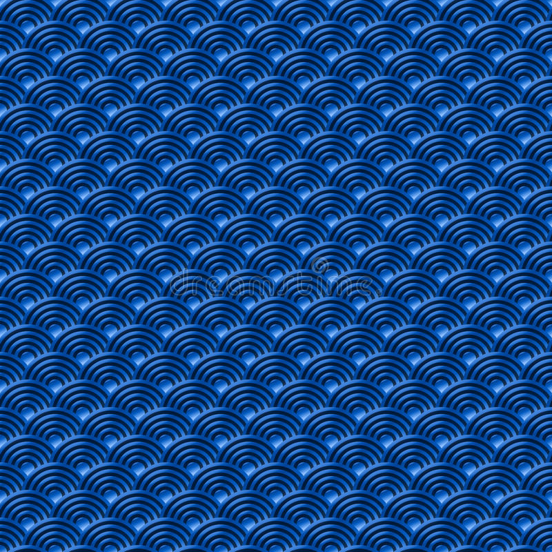 Κινεζικό μπλε άνευ ραφής σχεδίων δράκων ψαριών υπόβαθρο φύσης σχεδίων κλιμάκων απλό άνευ ραφής με το ιαπωνικό vecto σχεδίων κύκλω ελεύθερη απεικόνιση δικαιώματος