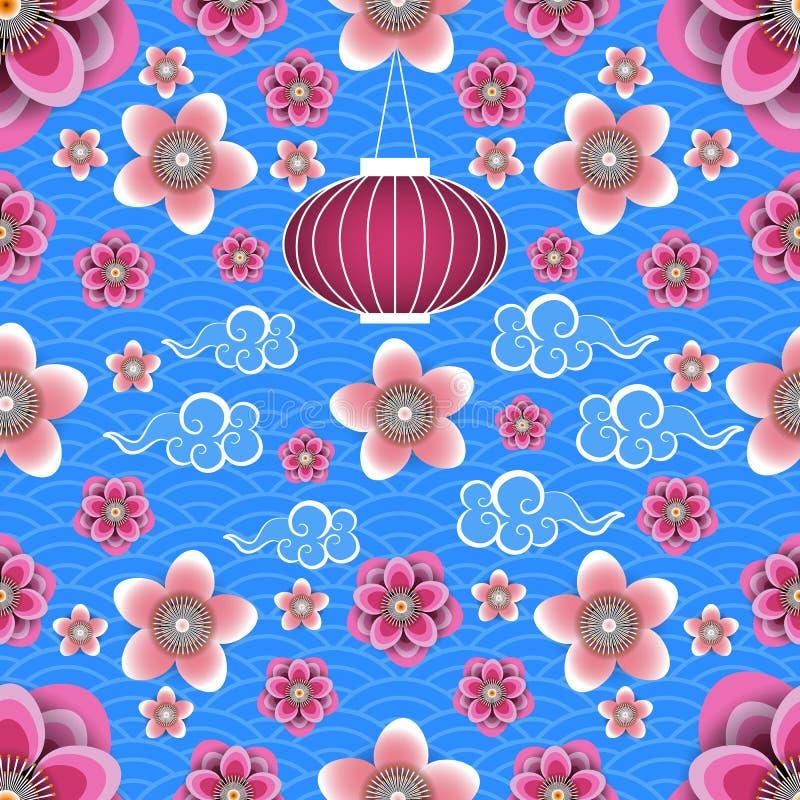 κινεζικό νέο έτος Κινεζικό φανάρι, κινεζικά σύννεφα, λουλούδια δαμάσκηνων και ροδάκινων Μπλε υπόβαθρο με το σχέδιο πρότυπο άνευ ρ ελεύθερη απεικόνιση δικαιώματος