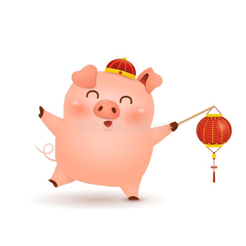 Κινεζικό νέο έτος 2019 Χαριτωμένα κινούμενα σχέδια λίγο σχέδιο χαρακτήρα χοίρων με το εορταστικό κόκκινο φανάρι παραδοσιακού κινέ απεικόνιση αποθεμάτων