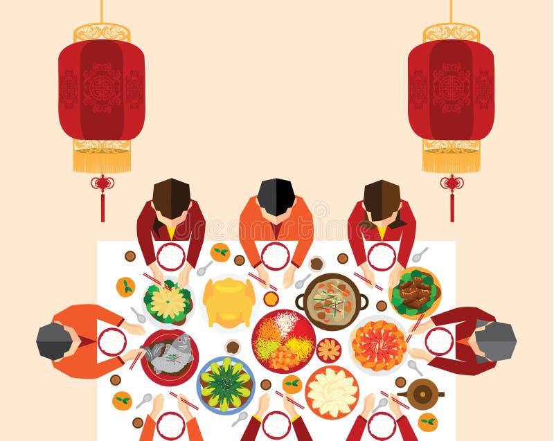 Κινεζικό νέο γεύμα συγκέντρωσης έτους διανυσματική απεικόνιση