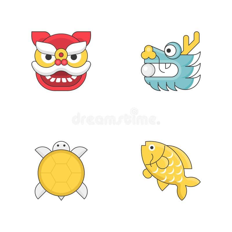 Κινεζικό νέο επίπεδο εικονίδιο σημαδιών έτους ζωικό που τίθεται με τη λεπτή περίληψη διανυσματική απεικόνιση