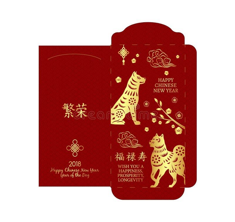 Κινεζικό νέο κόκκινο πακέτο χρημάτων έτους, κόκκινος φάκελος διανυσματική απεικόνιση