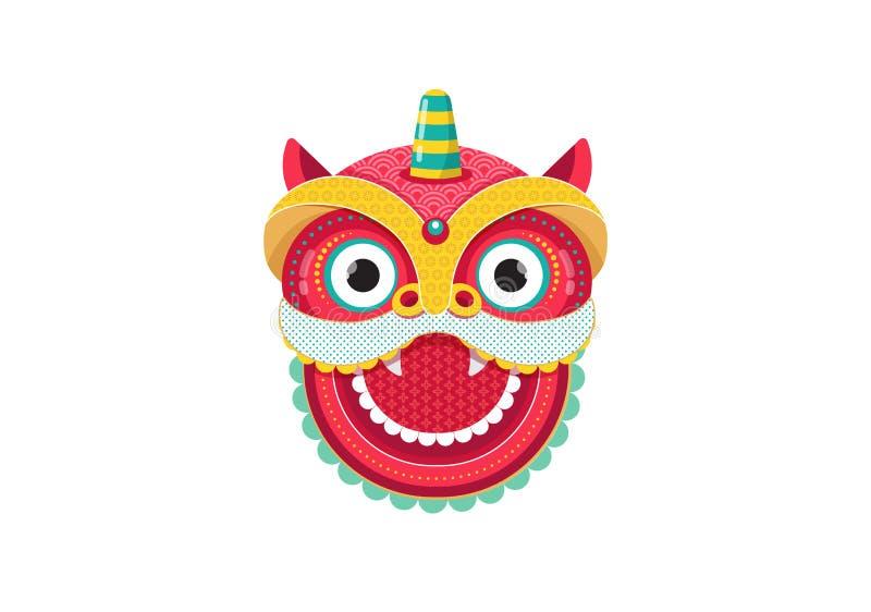 Κινεζικό νέο υπόβαθρο έτους, ευχετήρια κάρτα με έναν χορό λιονταριών, κόκκινος χαρακτήρας δράκων ελεύθερη απεικόνιση δικαιώματος
