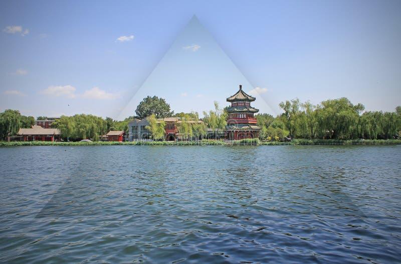 Κινεζικό πάρκο από τη λίμνη στο Πεκίνο στοκ φωτογραφία με δικαίωμα ελεύθερης χρήσης