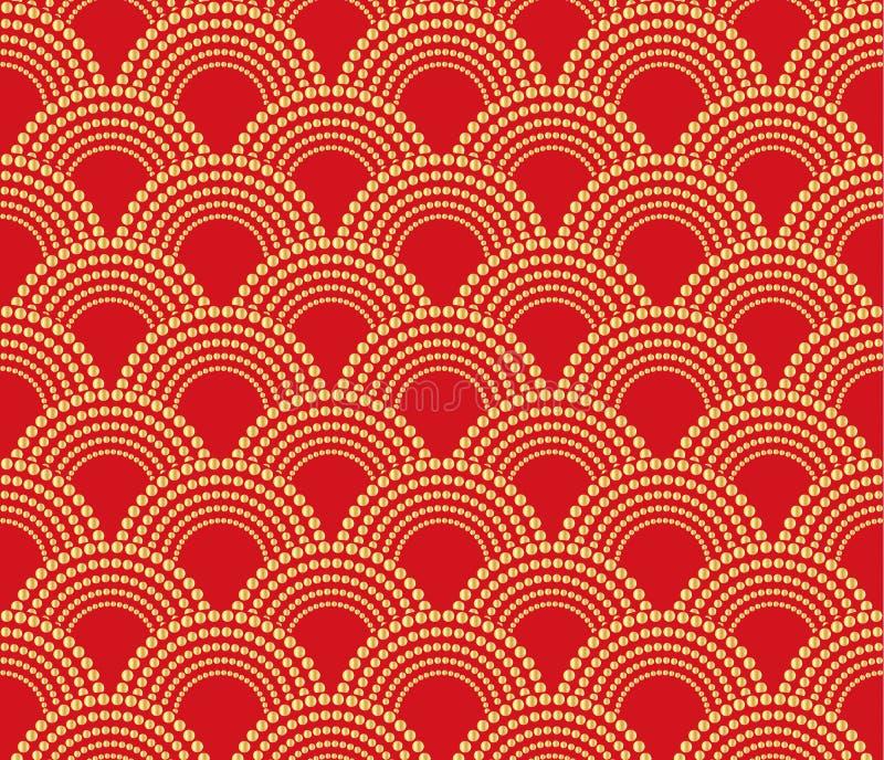 Κινεζικό παραδοσιακό ασιατικό υπόβαθρο διακοσμήσεων, κόκκινο με το χρυσό σχέδιο άνευ ραφής ελεύθερη απεικόνιση δικαιώματος