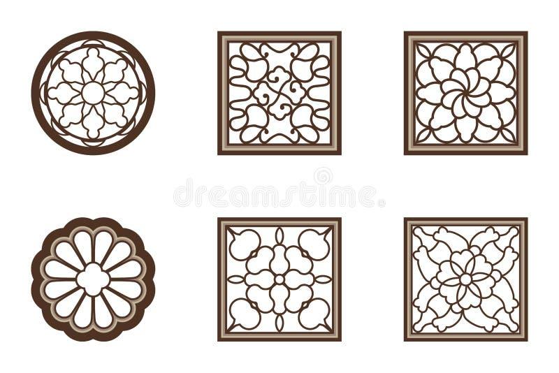 Κινεζικό παραθύρων λουλουδιών σύνολο ύφους κύκλων τετραγωνικό απεικόνιση αποθεμάτων