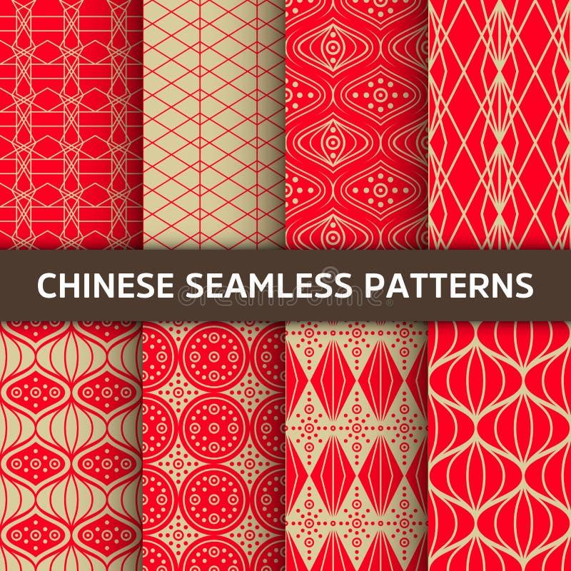 κινεζικό πρότυπο άνευ ραφή&si Φωτεινό διανυσματικό υπόβαθρο με την κόκκινη διακόσμηση Διακόσμηση με το παραδοσιακό ύφος της Κίνας απεικόνιση αποθεμάτων