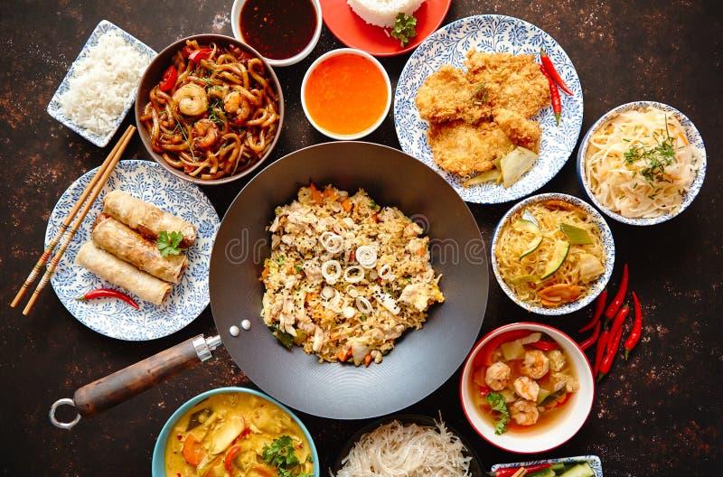 κινεζικό σύνολο τροφίμων Ασιατική σύνθεση έννοιας τροφίμων ύφους στοκ φωτογραφίες