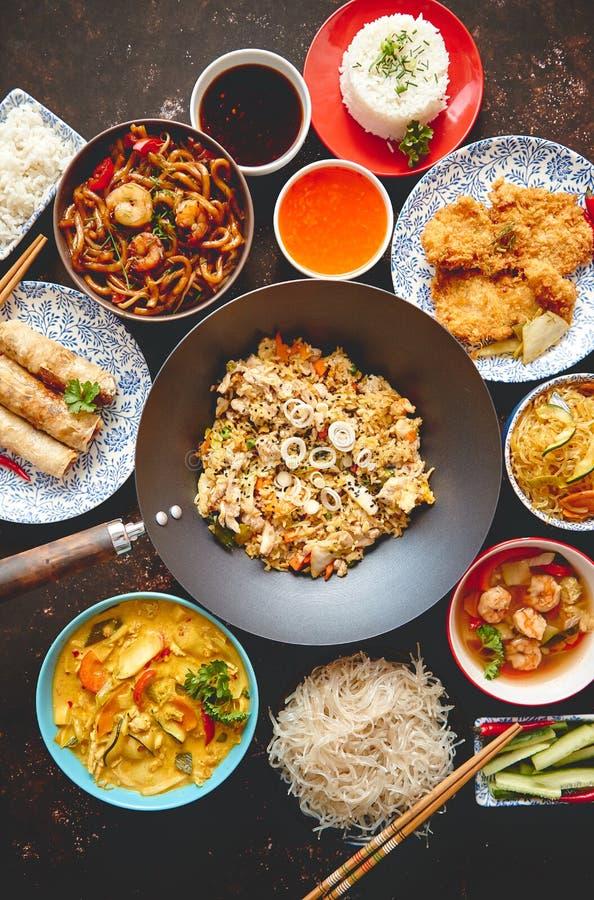 κινεζικό σύνολο τροφίμων Ασιατική σύνθεση έννοιας τροφίμων ύφους στοκ φωτογραφία με δικαίωμα ελεύθερης χρήσης