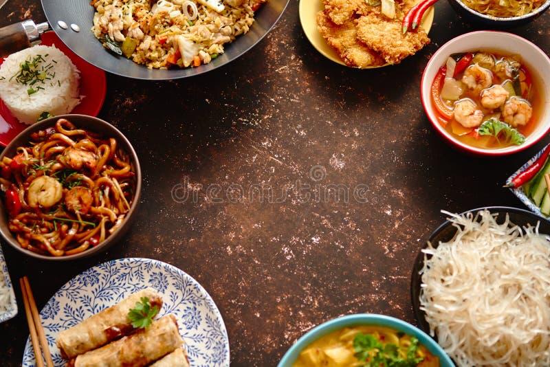 κινεζικό σύνολο τροφίμων Ασιατική σύνθεση έννοιας τροφίμων ύφους στοκ φωτογραφία