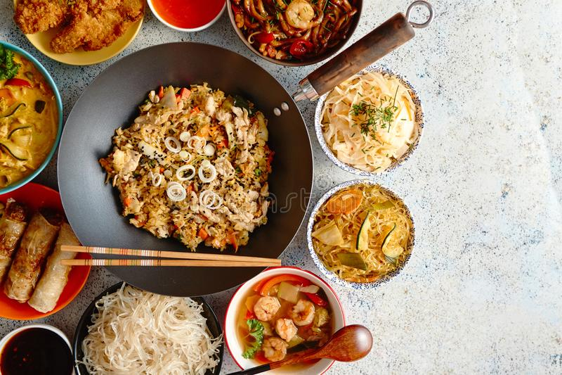κινεζικό σύνολο τροφίμων Ασιατική σύνθεση έννοιας τροφίμων ύφους στοκ εικόνες