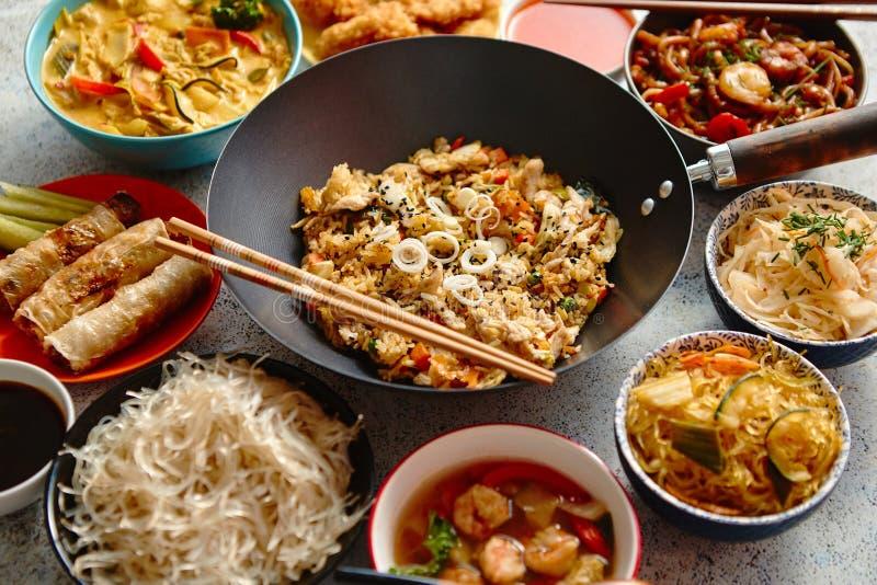 κινεζικό σύνολο τροφίμων Ασιατική σύνθεση έννοιας τροφίμων ύφους στοκ εικόνες με δικαίωμα ελεύθερης χρήσης