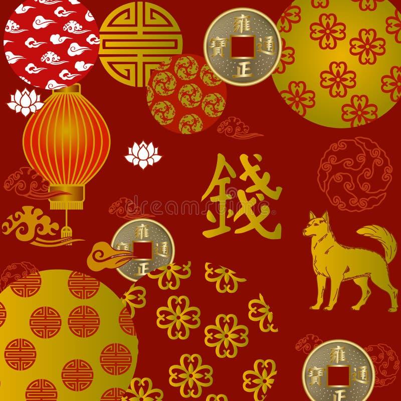 Κινεζικό τέμνον έτος εγγράφου συμβόλων Feng Shui σκυλιού διανυσματική απεικόνιση