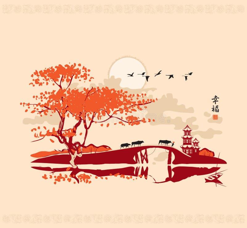 Κινεζικό τοπίο διανυσματική απεικόνιση