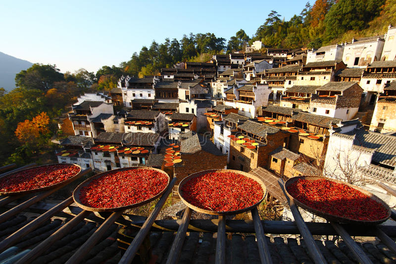 Κινεζικό του χωριού φθινόπωρο στοκ φωτογραφία