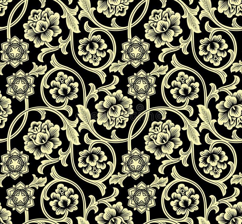 Κινεζικό υπόβαθρο με τα λουλούδια πρότυπο άνευ ραφής απεικόνιση αποθεμάτων