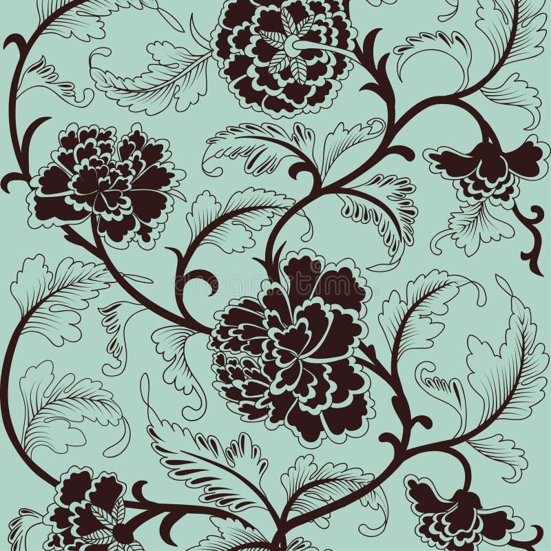 Κινεζικό υπόβαθρο με τα λουλούδια διανυσματική απεικόνιση