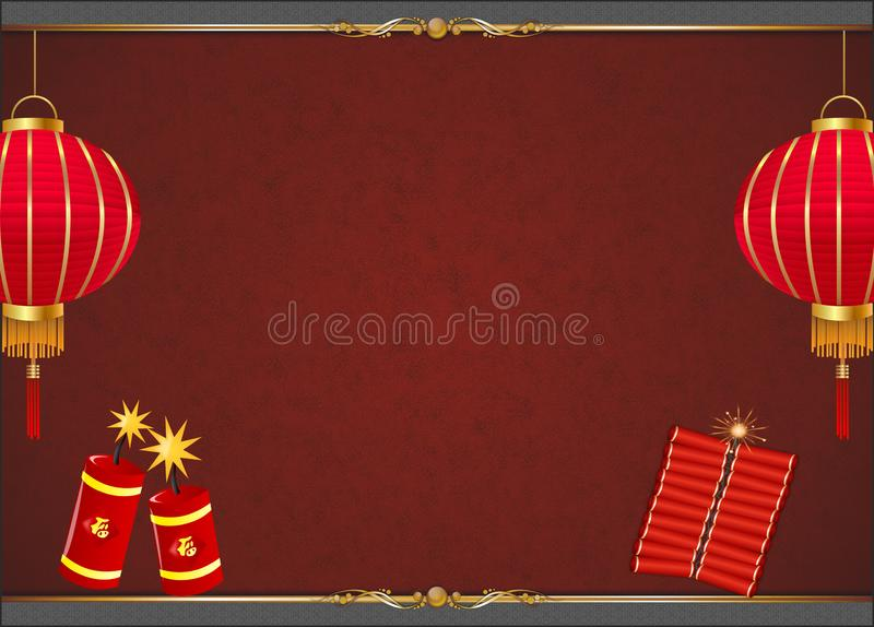 Κινεζικό υπόβαθρο Πρωτοχρονιάς με το κόκκινο φανάρι ελεύθερη απεικόνιση δικαιώματος