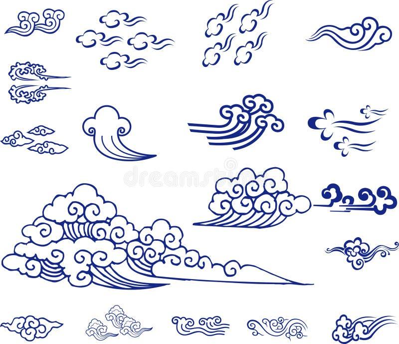 Κινεζικό υλικό σύννεφων διανυσματική απεικόνιση
