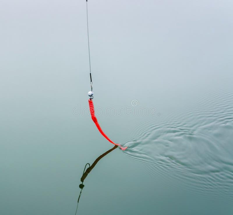 Κινηθείτε σπασμωδικά το δόλωμα στις αφές λουριών το νερό στοκ φωτογραφία με δικαίωμα ελεύθερης χρήσης