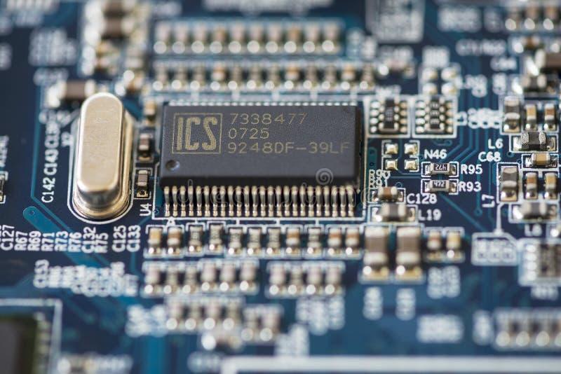 Κινηματογράφηση σε πρώτο πλάνο ενός μικροεπεξεργαστή στοκ φωτογραφία με δικαίωμα ελεύθερης χρήσης