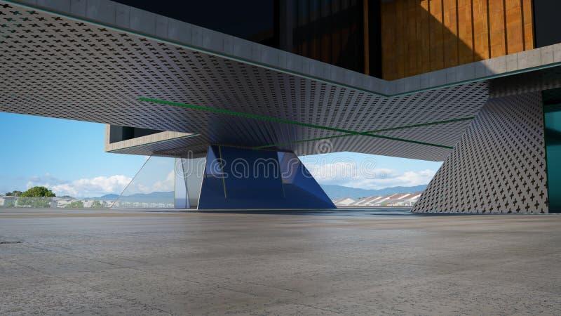 Κινηματογράφηση σε πρώτο πλάνο και άποψη προοπτικής του κενού πατώματος τσιμέντου με το σύγχρονο εξωτερικό οικοδόμησης χάλυβα και διανυσματική απεικόνιση