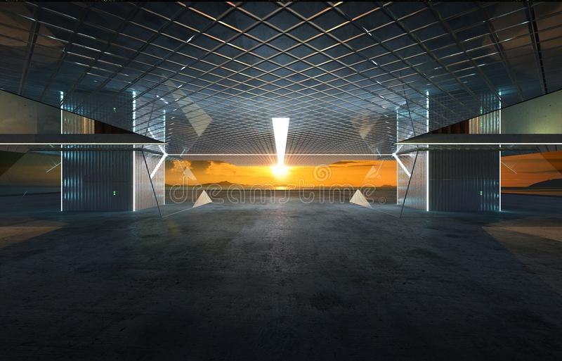 Κινηματογράφηση σε πρώτο πλάνο και άποψη προοπτικής του κενού πατώματος τσιμέντου με το σύγχρονο εξωτερικό οικοδόμησης χάλυβα και ελεύθερη απεικόνιση δικαιώματος