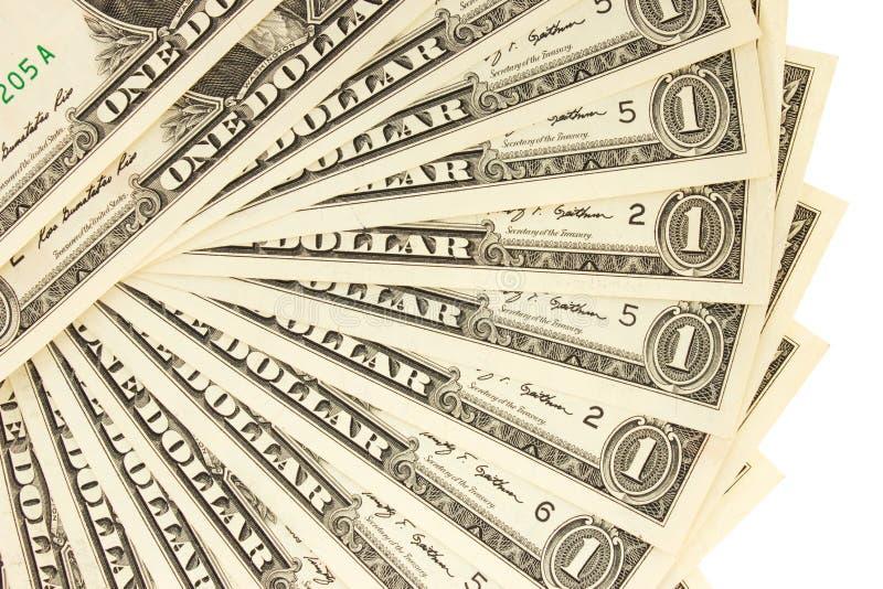 Κινηματογράφηση σε πρώτο πλάνο λογαριασμοί ενός δολαρίου στο άσπρο υπόβαθρο Επιχειρησιακή έννοια β στοκ εικόνες με δικαίωμα ελεύθερης χρήσης