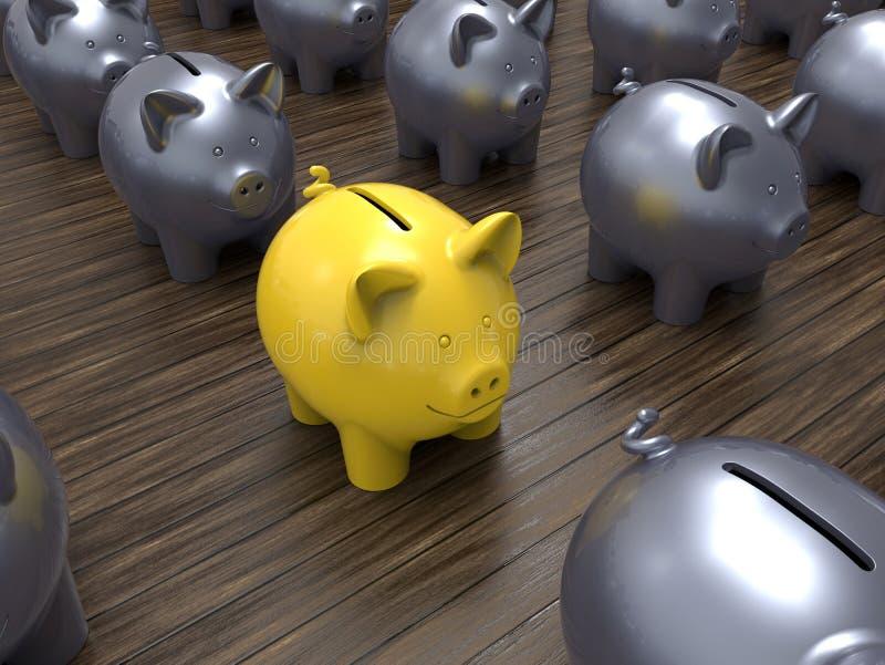 Κινηματογράφηση σε πρώτο πλάνο μιας κίτρινης piggy τράπεζας ελεύθερη απεικόνιση δικαιώματος