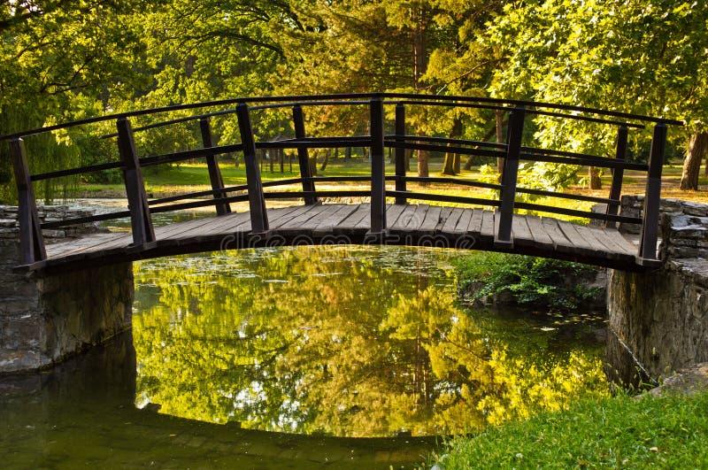 Κινηματογράφηση σε πρώτο πλάνο μιας ξύλινης γέφυρας σε ένα πάρκο στοκ εικόνες