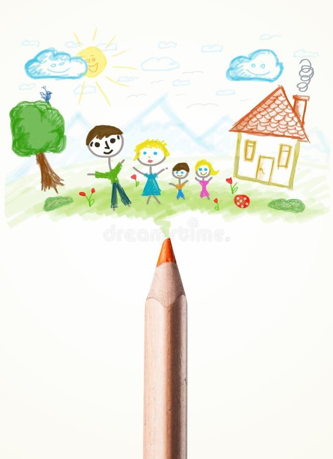 Κινηματογράφηση σε πρώτο πλάνο μολυβιών με ένα σχέδιο μιας οικογένειας στοκ φωτογραφία