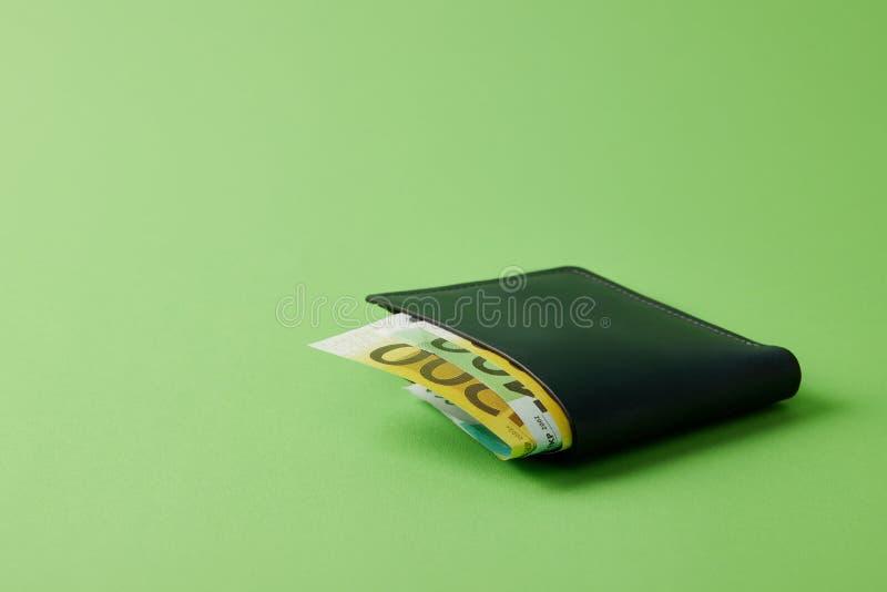κινηματογράφηση σε πρώτο πλάνο που πυροβολείται του πορτοφολιού με τα ευρο- τραπεζογραμμάτια σε πράσινο στοκ φωτογραφία με δικαίωμα ελεύθερης χρήσης