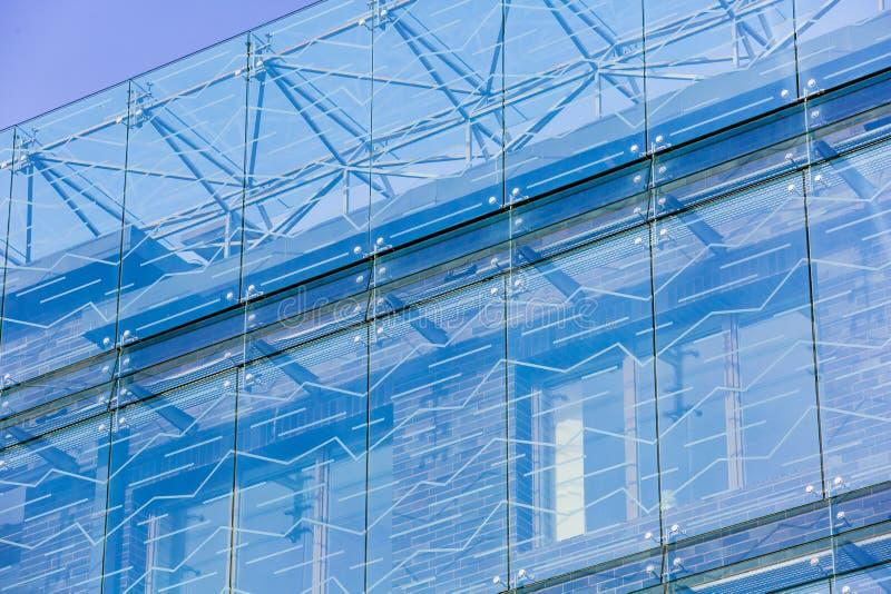 Κινηματογράφηση σε πρώτο πλάνο σύστασης γυαλιού Σύγχρονη αρχιτεκτονική, Vilnius Νέα έννοια οικοδόμησης στοκ φωτογραφίες με δικαίωμα ελεύθερης χρήσης