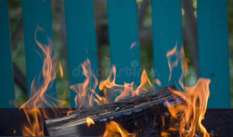 Κινηματογράφηση σε πρώτο πλάνο της πυρκαγιάς και των φλογών σε ένα θολωμένο φυσικό υπόβαθρο στοκ φωτογραφίες με δικαίωμα ελεύθερης χρήσης