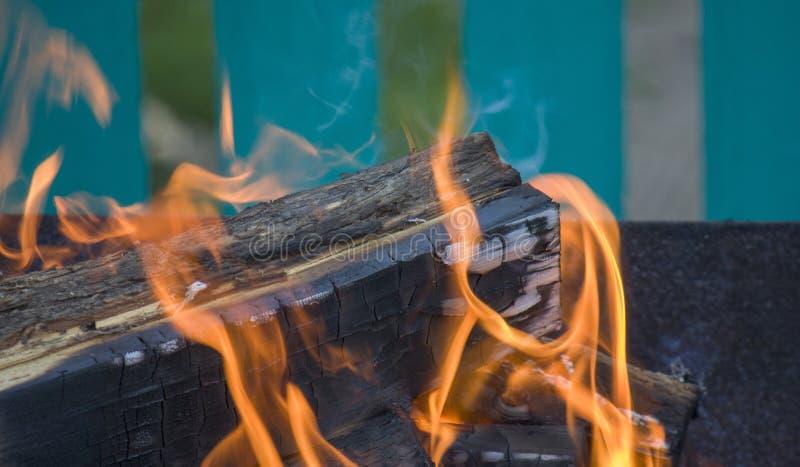 Κινηματογράφηση σε πρώτο πλάνο της πυρκαγιάς και των φλογών σε ένα θολωμένο φυσικό υπόβαθρο στοκ εικόνα