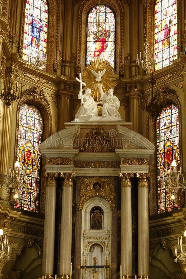 Κινηματογράφηση σε πρώτο πλάνο του βωμού του καθεδρικού ναού στο Leon, Guanajuato r στοκ εικόνες με δικαίωμα ελεύθερης χρήσης