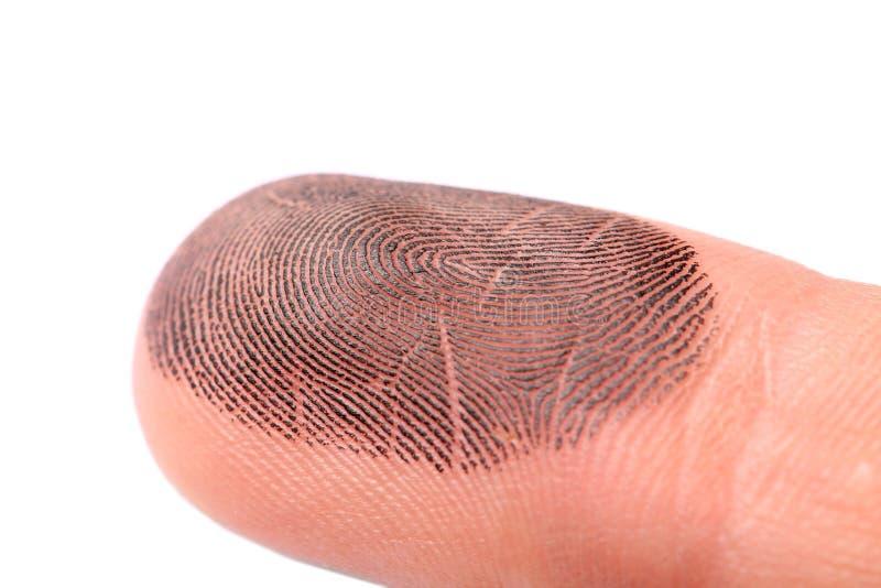 Κινηματογράφηση σε πρώτο πλάνο του δάχτυλου του προσώπου με το μελάνι στο λευκό Λήψη των τυπωμένων υλών στοκ εικόνες με δικαίωμα ελεύθερης χρήσης