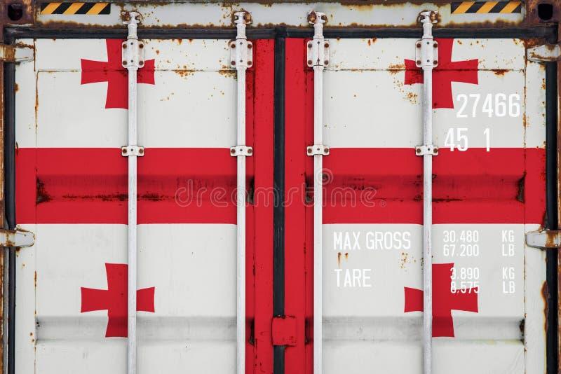 Κινηματογράφηση σε πρώτο πλάνο του εμπορευματοκιβωτίου με τη εθνική σημαία στοκ φωτογραφία με δικαίωμα ελεύθερης χρήσης