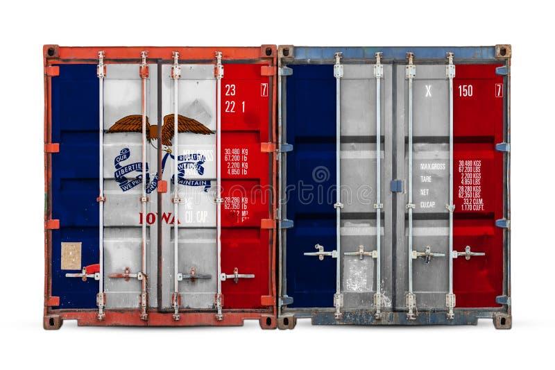 Κινηματογράφηση σε πρώτο πλάνο του εμπορευματοκιβωτίου με τη εθνική σημαία στοκ εικόνες