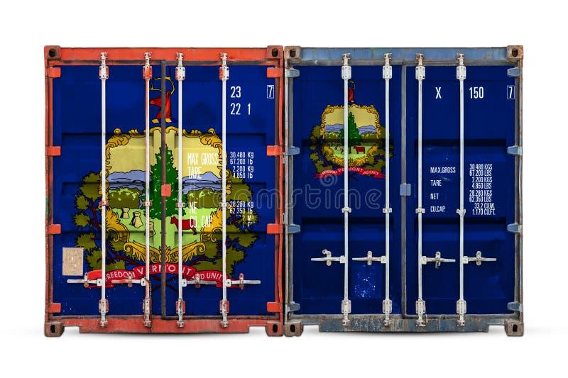 Κινηματογράφηση σε πρώτο πλάνο του εμπορευματοκιβωτίου με τη εθνική σημαία στοκ φωτογραφίες