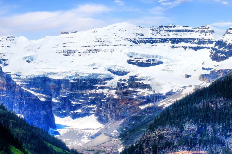 Κινηματογράφηση σε πρώτο πλάνο του παγετώνα Βικτώριας υποστηριγμάτων στο Lake Louise Αλμπέρτα Καναδάς στοκ εικόνες με δικαίωμα ελεύθερης χρήσης