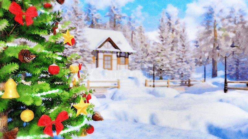 Κινηματογράφηση σε πρώτο πλάνο του υπαίθριου χριστουγεννιάτικου δέντρου στο watercolor διανυσματική απεικόνιση