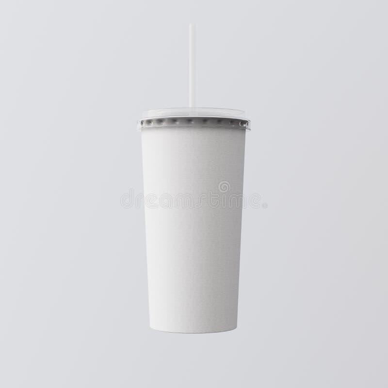 Κινηματογράφηση σε πρώτο πλάνο ένα κενό άσπρο απομονωμένο φλυτζάνι γκρίζο υπόβαθρο καταφερτζήδων χαρτονιού Πάρτε μαζί κλειστή ΚΑΠ στοκ φωτογραφίες