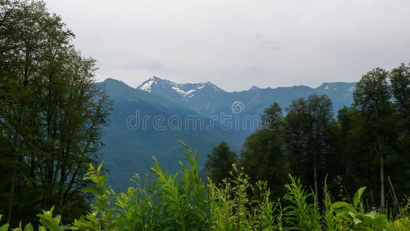 Κινηματογράφηση σε πρώτο πλάνο θέας βουνού στοκ εικόνα με δικαίωμα ελεύθερης χρήσης