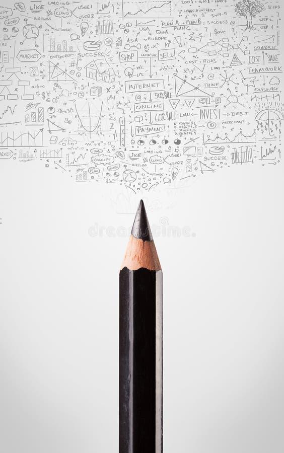 Κινηματογράφηση σε πρώτο πλάνο μολυβιών με τα διαγράμματα στοκ φωτογραφία με δικαίωμα ελεύθερης χρήσης