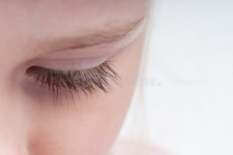 Κινηματογράφηση σε πρώτο πλάνο που πυροβολείται του eyelash στοκ εικόνα