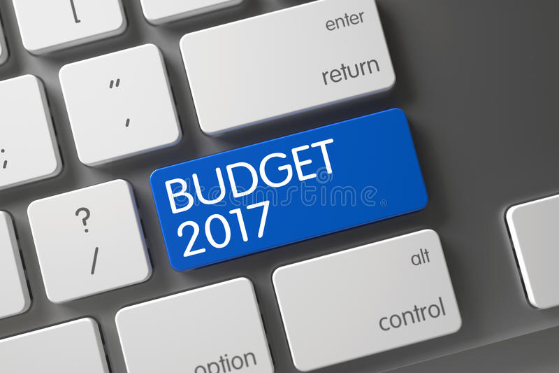 Κινηματογράφηση σε πρώτο πλάνο προϋπολογισμών 2017 του πληκτρολογίου τρισδιάστατος διανυσματική απεικόνιση